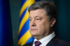 Ukrainian President Petro Poroshenko delivers his address